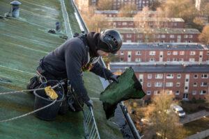 Höhenarbeiter sammelt Dachpappe aus der Regenrinne
